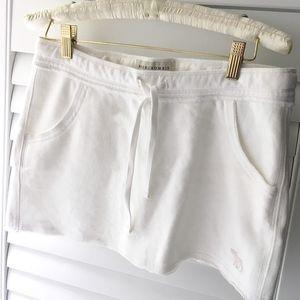 Knit drawstring mini skirt